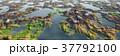 鮮豔細緻的湖泊和山脈高地景觀,全景鳥瞰圖(高分辨率 3D CG 渲染∕著色插圖) 37792100