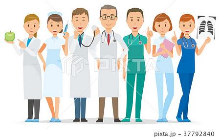 大勢の医療関係者が立っている 37792840