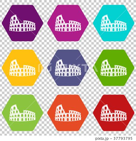 Roman Colosseum icon set color hexahedron 37793795