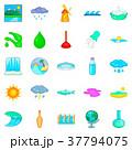 Water dam icons set, cartoon style 37794075