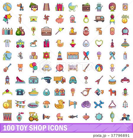 100 toy shop icons set, cartoon style 37796891