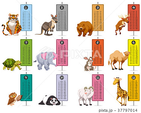 wild animals and time tables templateのイラスト素材 37797014 pixta