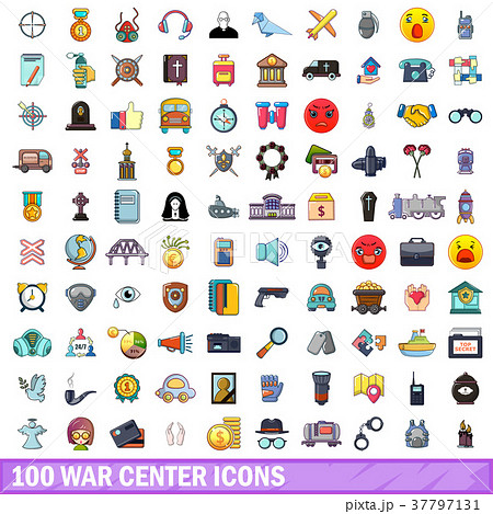 100 war center icons set, cartoon style 37797131