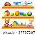 Different types of balls and toys on shelves 37797207
