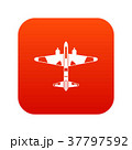 Military fighter aircraft icon digital red 37797592