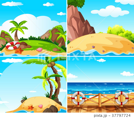 Four scenes with island and ocean 37797724