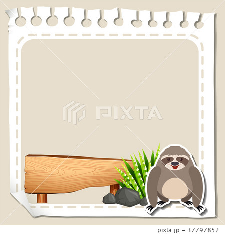 paper template with cute slothのイラスト素材 37797852 pixta
