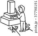 お墓の掃除 線画 37798191