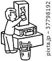 お墓の掃除 線画 37798192