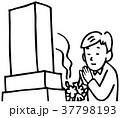 お墓参り 線画 37798193