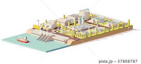 Vector low poly water treatment plant 37808787