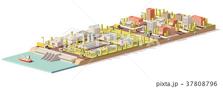 Vector low poly water treatment and consumption 37808796