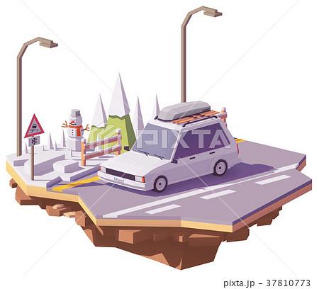 Vector low poly winter car trip 37810773