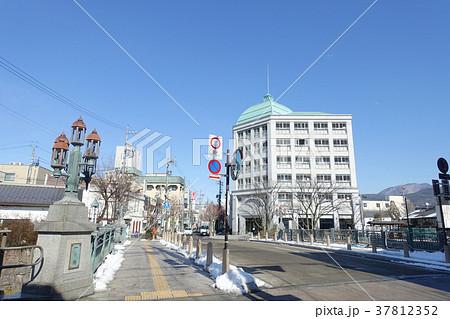 一ツ橋のガス灯と松本市役所旧趾  松本市 37812352
