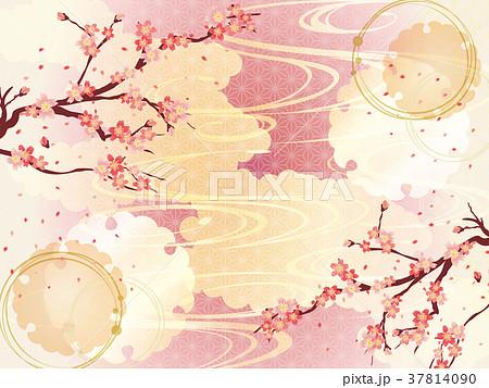 桜と金の和柄の背景素材 37814090