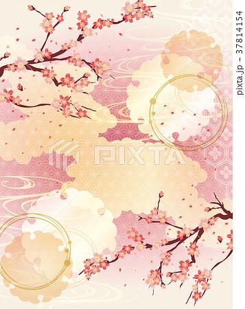 桜と金の和柄の背景素材 37814154