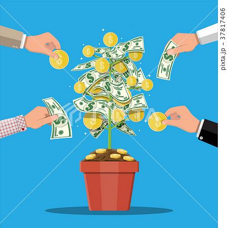 Money coin tree. Growing money tree. 37817406
