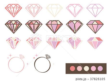 宝石 デザインパーツ素材(ピンク) 37826105