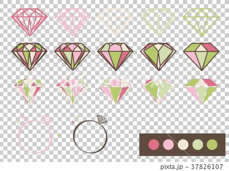 宝石 デザインパーツ素材(ピンク×グリーン) 37826107