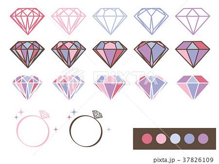 宝石 デザインパーツ素材(ピンク×パープル) 37826109