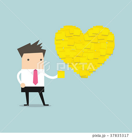 businessman with heart shape yellow sticky notes のイラスト素材
