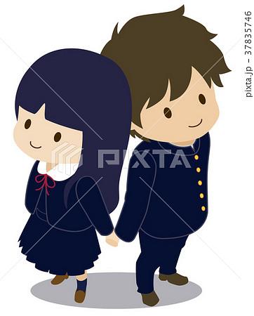 可愛い恋人たち 俯瞰 制服 ジャンパースカート 冬服のイラスト素材