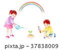 水やりする子供と虹 37838009