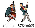 rockabilly jazz musicians, double bass and banjo 37840605