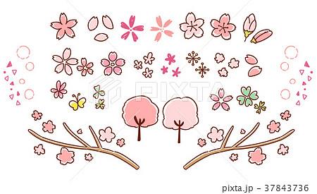 かわいい桜の手描き風アイコンセット(カラー) 37843736
