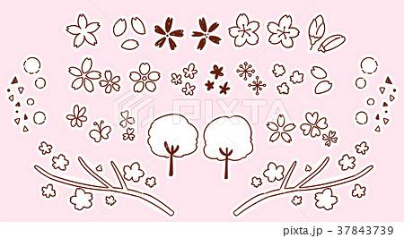 かわいい桜の手描き風アイコンセット(モノクロ) 37843739