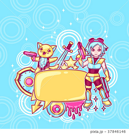 japanese anime cosplay background cute kawaiiのイラスト素材