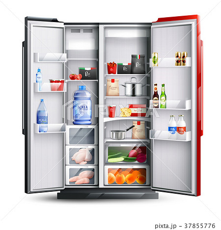 Red Open Refrigerator With Products  37855776