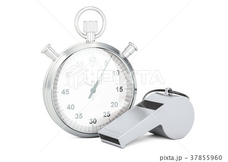 Whistle and stopwatch, 3D rendering 37855960