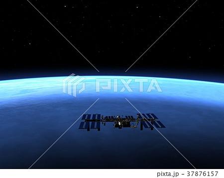 高画質 地球とISS (宇宙ステーション)3DCG perming3DCG イラスト素材 37876157