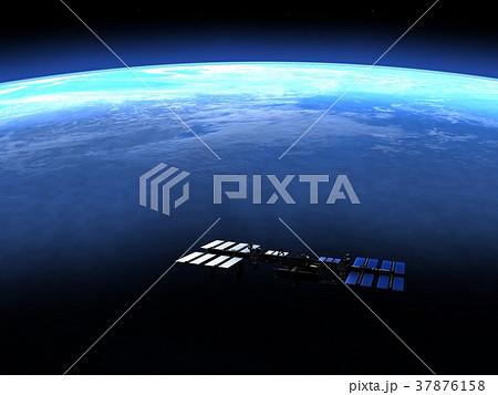 高画質 地球とISS (宇宙ステーション)3DCG perming3DCG イラスト素材 37876158
