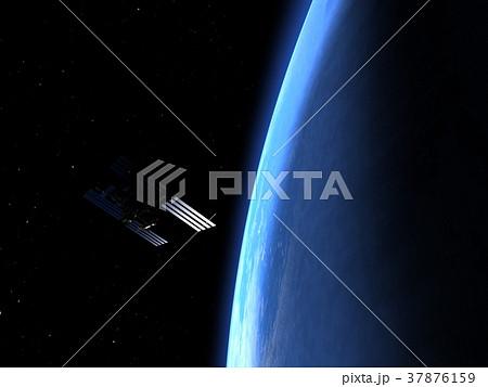 高画質 地球とISS (宇宙ステーション)3DCG perming3DCG イラスト素材 37876159