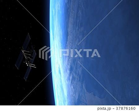 高画質 地球とISS (宇宙ステーション)3DCG perming3DCG イラスト素材 37876160