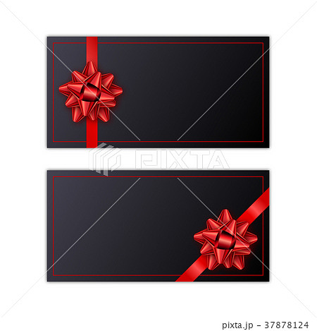 Set of black holiday gift card with red ribbon and set of black holiday gift card with red ribbon and negle Gallery