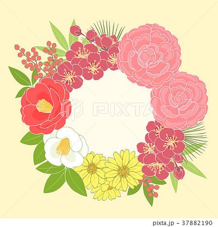 お正月の花リースのイラスト素材 37882190 Pixta