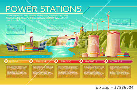 vector power stations infographics templateのイラスト素材 37886604
