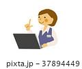 事務員 女性 案内のイラスト 37894449