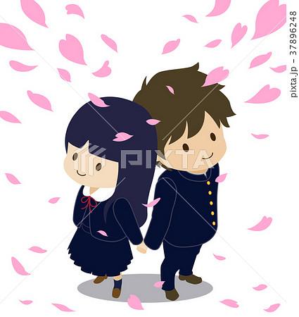 可愛い恋人たち 桜 制服 ジャンパースカート 俯瞰のイラスト素材