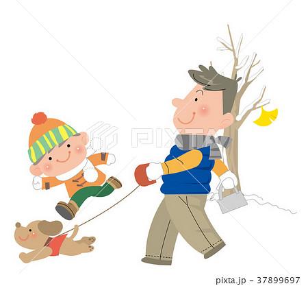 冬犬と散歩するお父さんと子どものイラスト素材 37899697 Pixta
