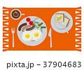 目玉焼きのイラスト。朝食。パンと卵料理のイラスト。 37904683