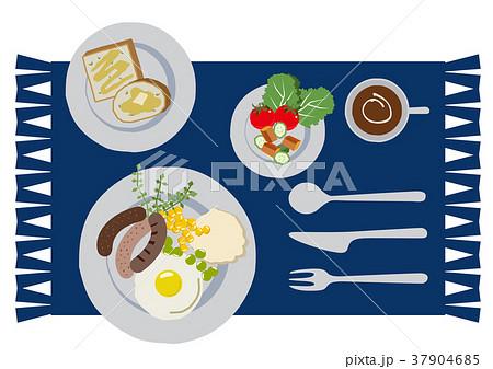 目玉焼きのイラスト。朝食。パンと卵料理のイラスト。 37904685