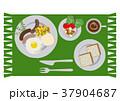 目玉焼きのイラスト。朝食。パンと卵料理のイラスト。 37904687