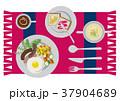 目玉焼きのイラスト。朝食。パンと卵料理のイラスト。 37904689