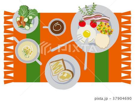 目玉焼きのイラスト。朝食。パンと卵料理のイラスト。 37904690