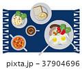 目玉焼きのイラスト。朝食。パンと卵料理のイラスト。 37904696