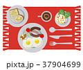 目玉焼きのイラスト。朝食。パンと卵料理のイラスト。 37904699